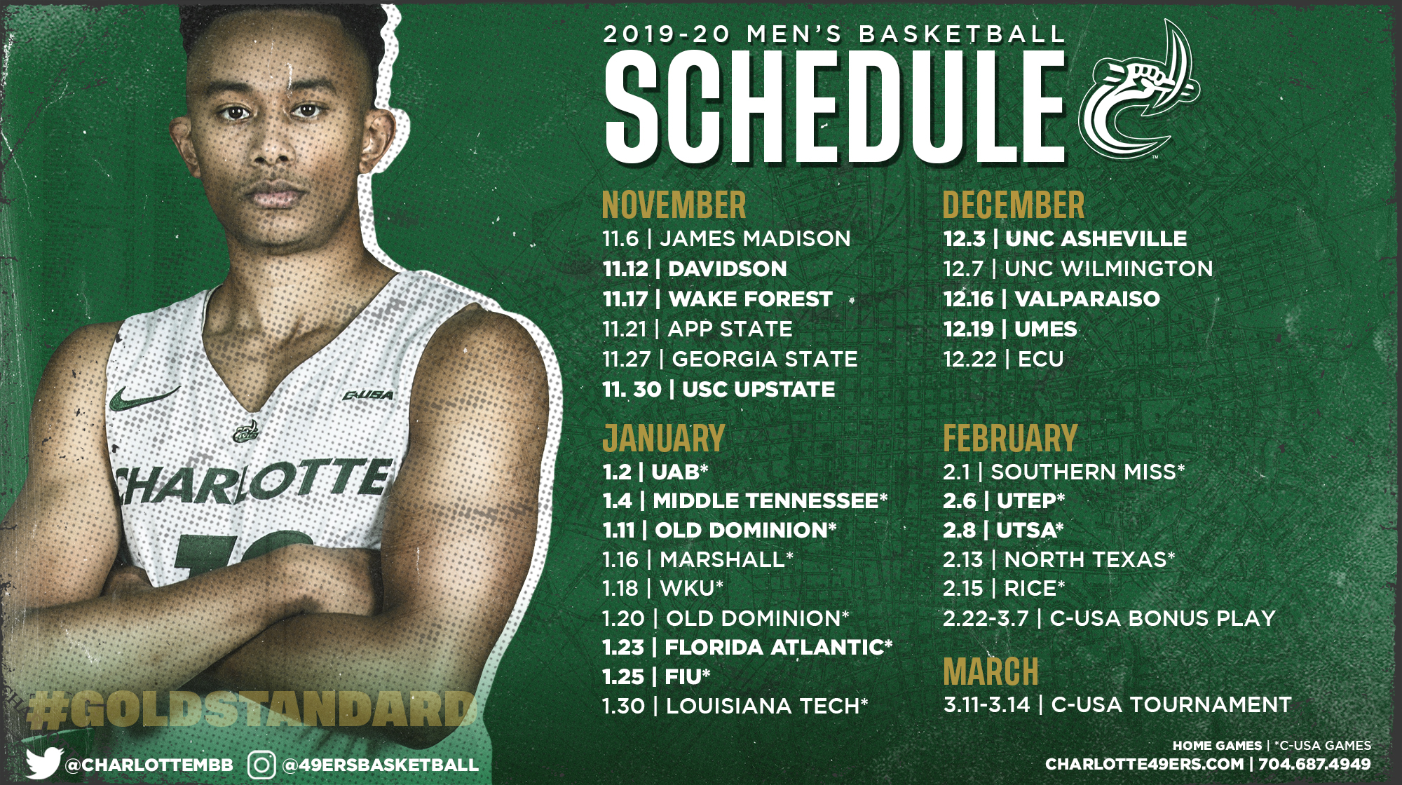 photo regarding Unc Basketball Schedule Printable named Mens Basketball Releases 2019-20 Plan - Charlotte Sporting activities