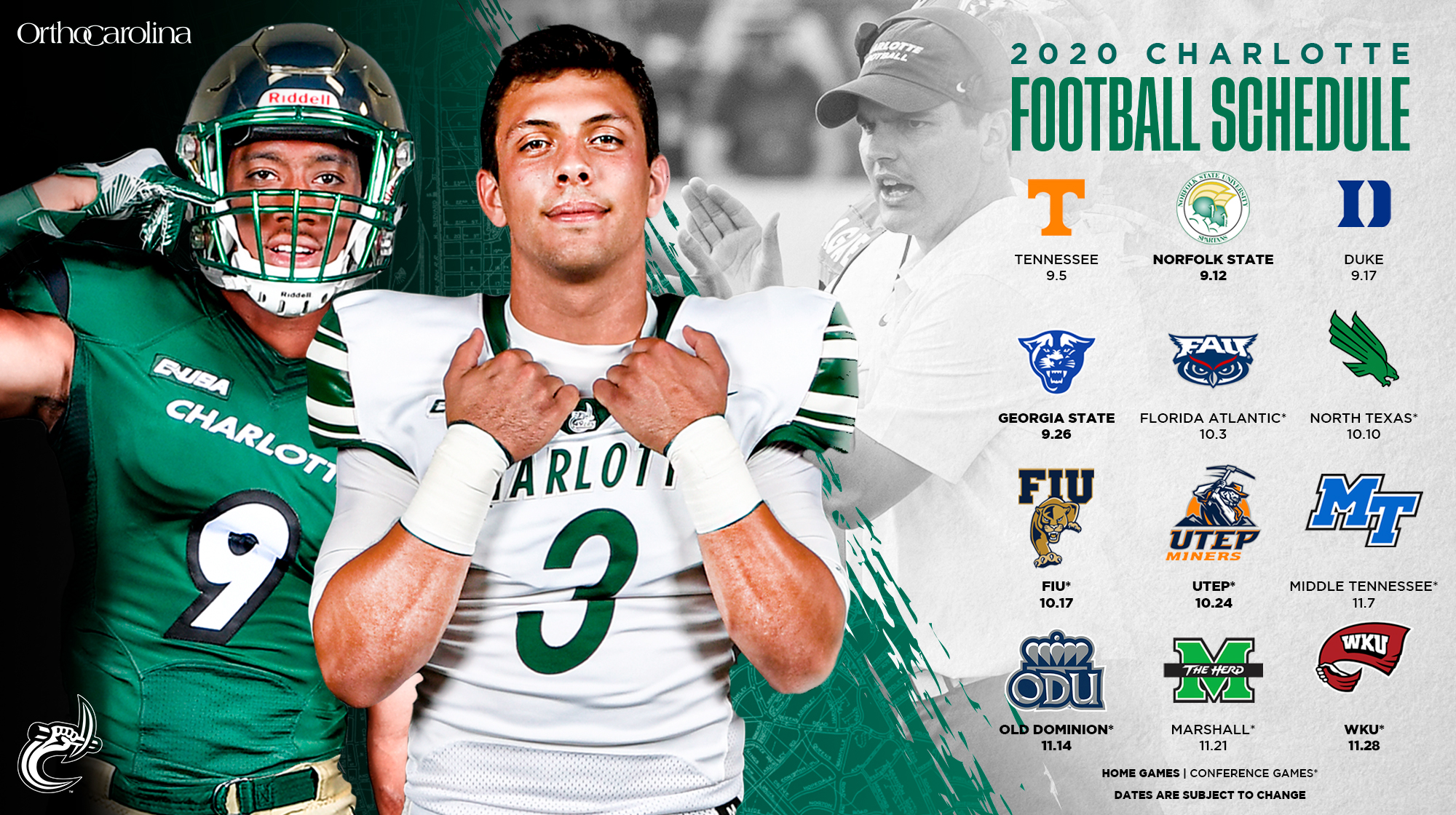 Healy Announces 2020 Football Schedule Charlotte Athletics